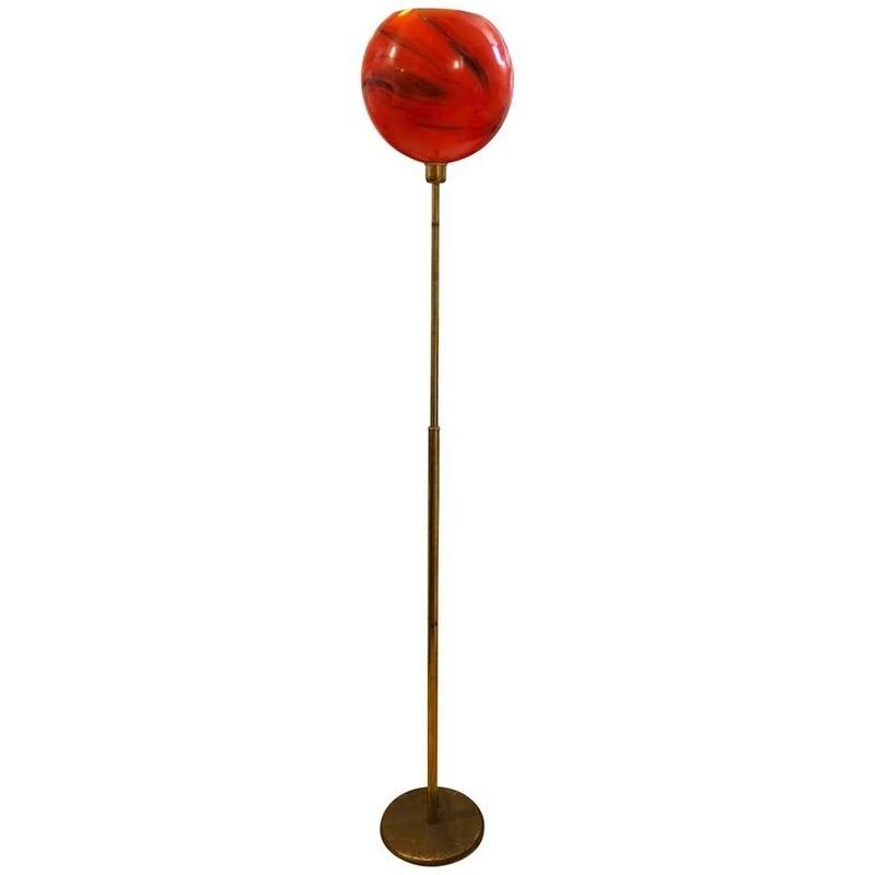 Mid-Century Modern Italian Brass and Red Glass Floor Lamp, circa 1950