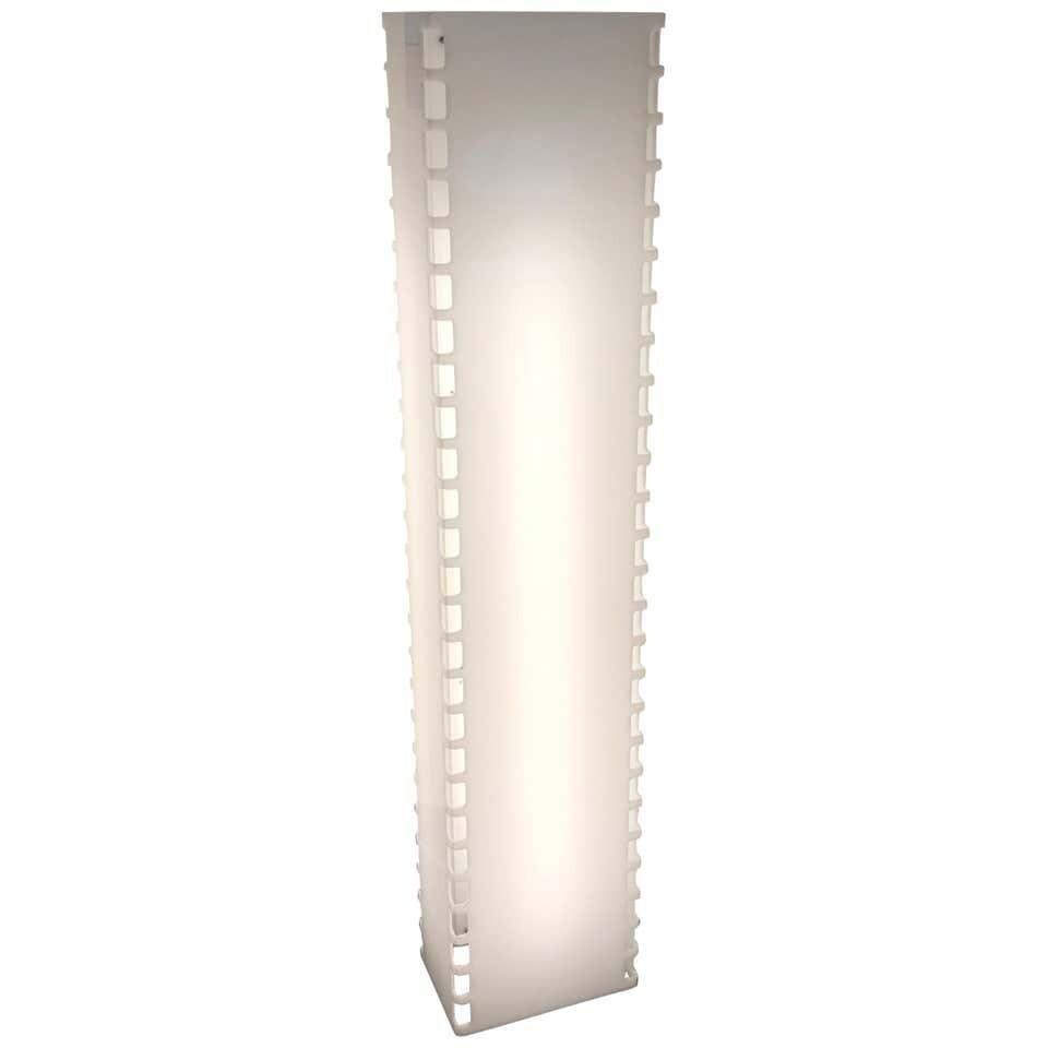 Space Age Rectangular White Plexiglass Italian Floor Lamp, circa 1970