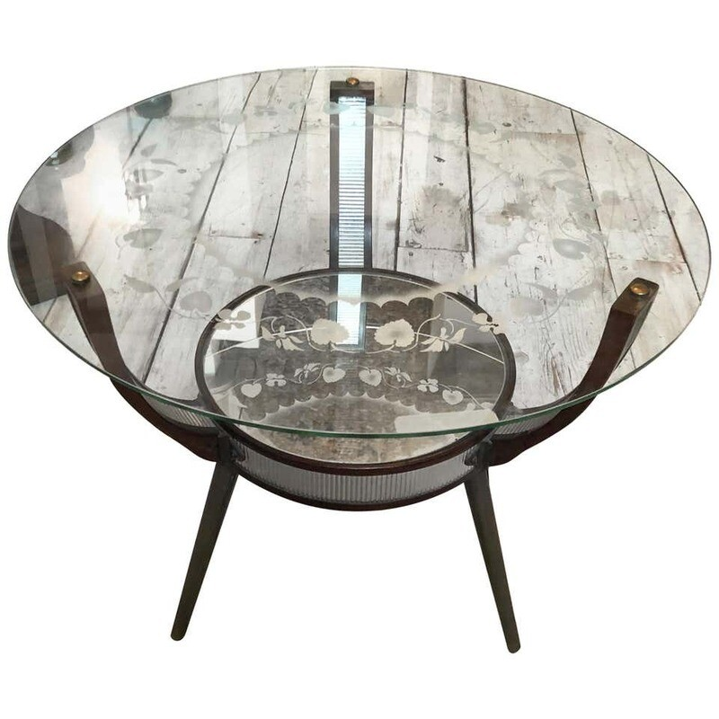 Mid-Century Modern Italian wood and engraved Glass Side Table, circa 1955