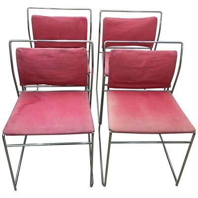 Kazuhide Takahama Italian Set of Four Steel Tulu Chairs for Simon Gavina 1969
