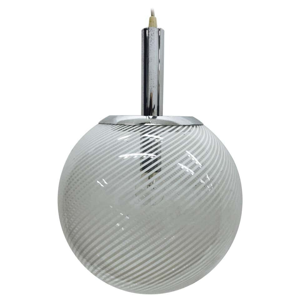Space Age Italian glass and chrome Pendant by Venini, circa 1965