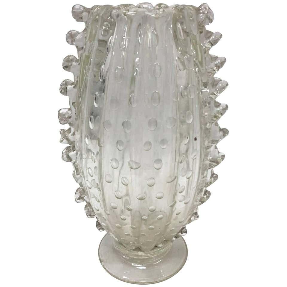Barovier Mid-Century Modern Italian Translucent Murano Glass Vase circa 1960