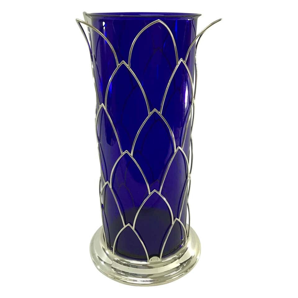 Cleto Munari Modernist Sterling and blue Murano Glass Vase, Italy circa 1980