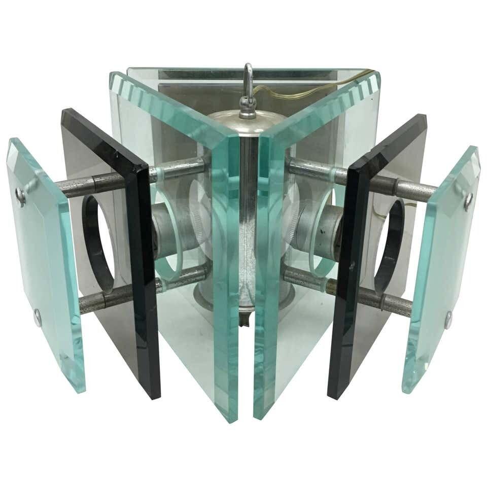 Fontana Arte 1970s Steel and Glass Pendant