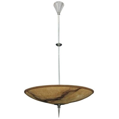 Italian Curved Glass Paste Chandelier, circa 1960