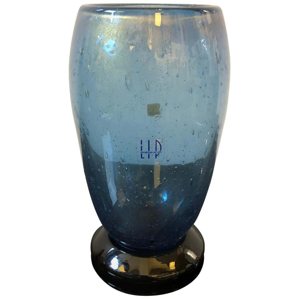 Marcello Furlan for L.I.P. Vintage Black and Blue Murano Glass Vase, 1970