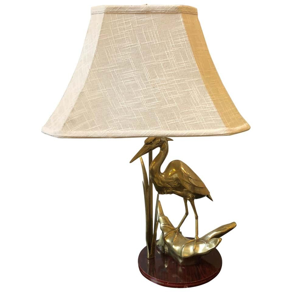 Hollywood Regency Italian Flamingo Brass Table Lamp, circa 1950