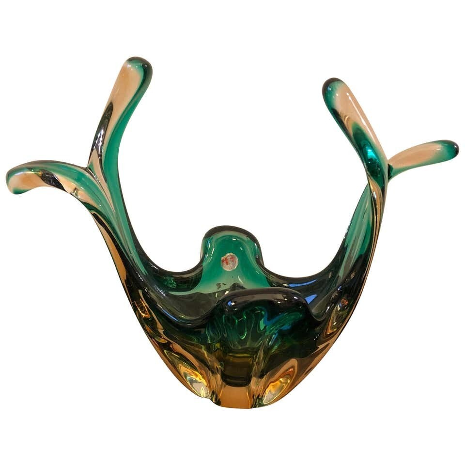 Seguso Attributed Italian Sommerso Green and Brown Murano Glass Centerpiece 1960