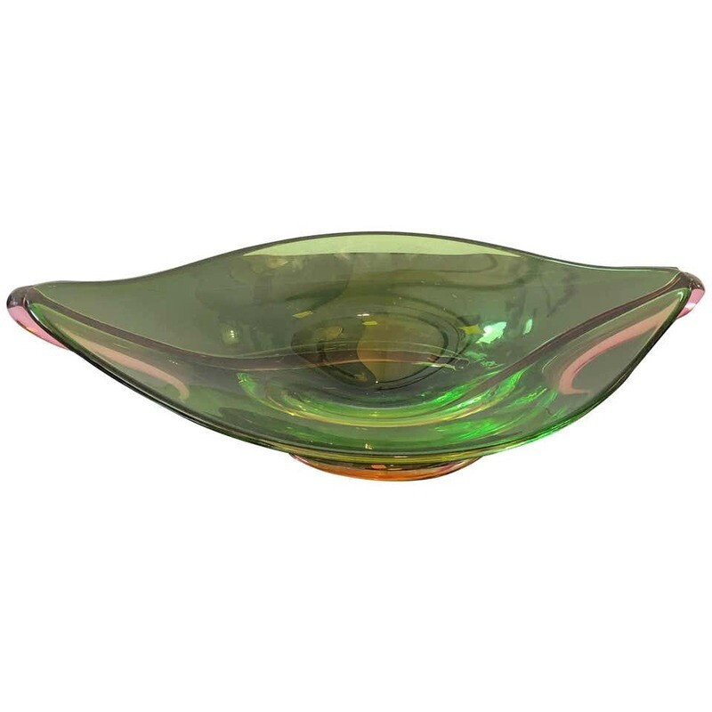 Seguso Attributed Mid-Century Modern Italian Green Murano Glass Centerpiece 1970