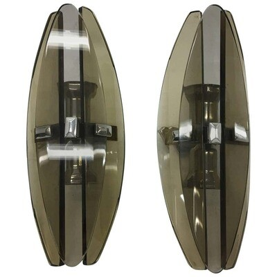 Set of Two Italian Modernist Elliptical Brown glass Wall Sconces by Veca 1970
