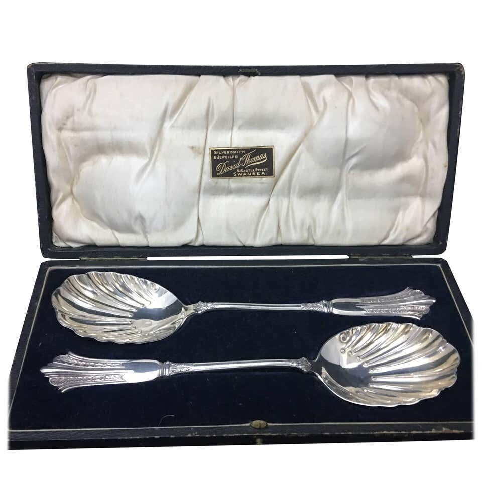 Pair of Victorian Silver Plate Spoons in a Box England, circa 1870