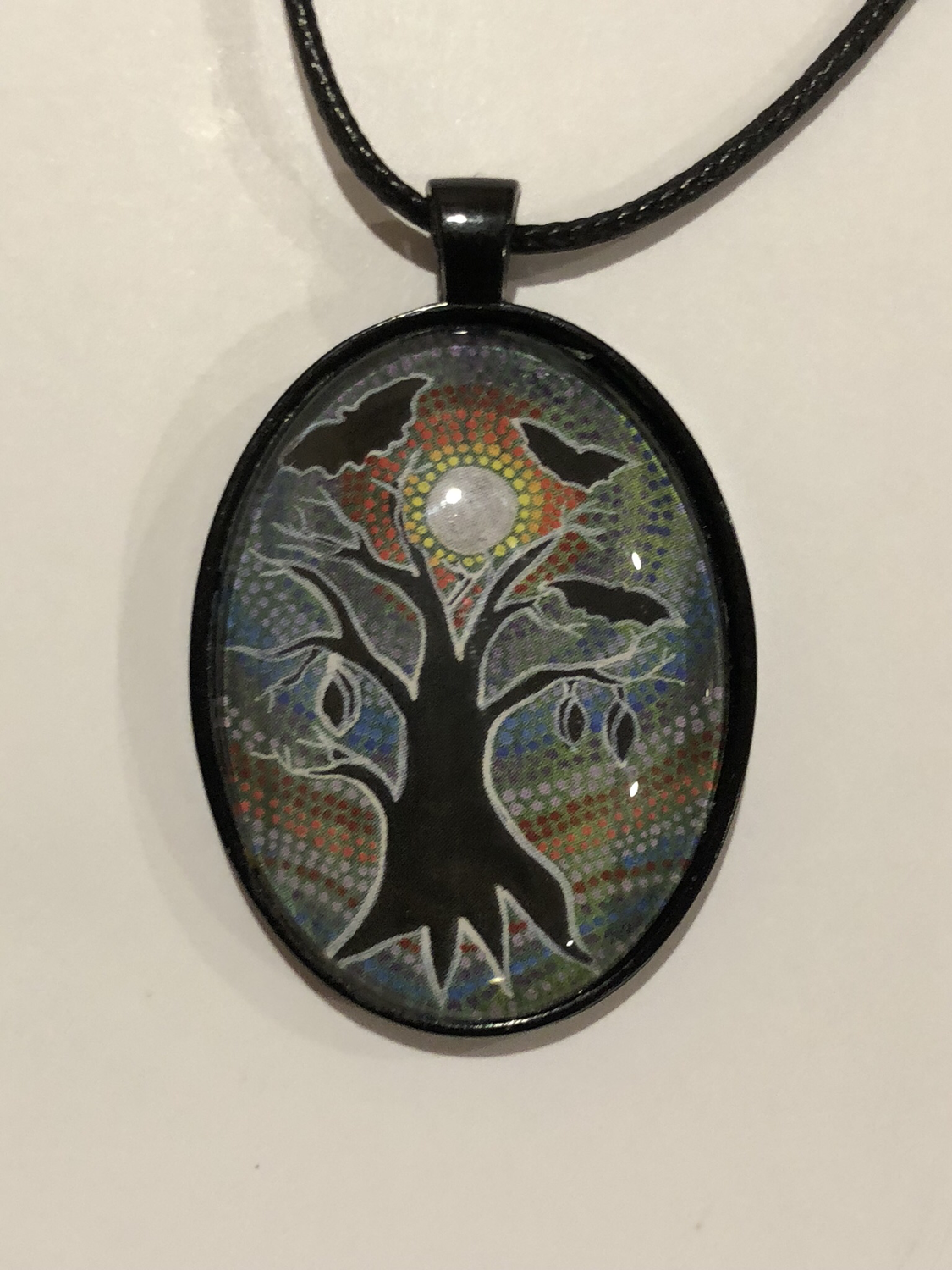 Bat Island Glass art pendant