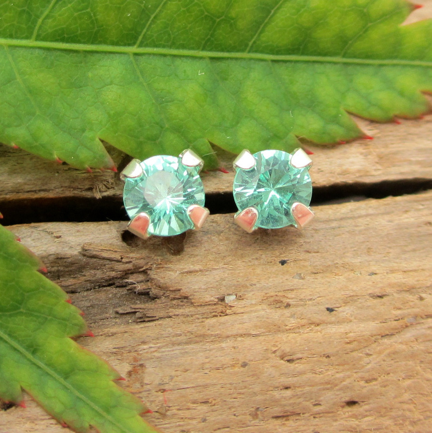 fc1666772 Apatite Stud Earrings, Small 4mm