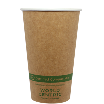 Case of 1000 Units or Pack of 50 Units of Kraft Paper Cup Hot 16 oz