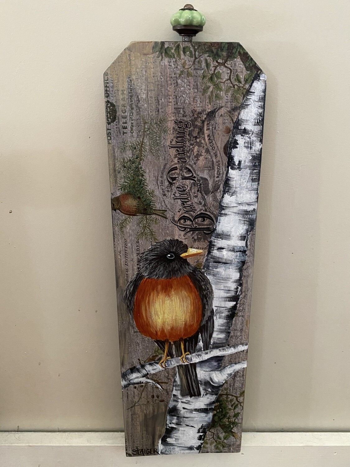 Robin on Birch Wallhanging | Finely Finished by Sandra Staiger