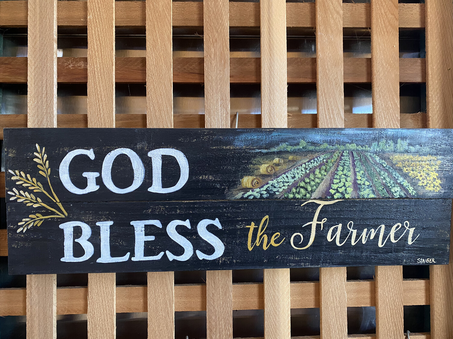 God Bless the Farmer Wallhanging | Finely Finished by Sandra Staiger