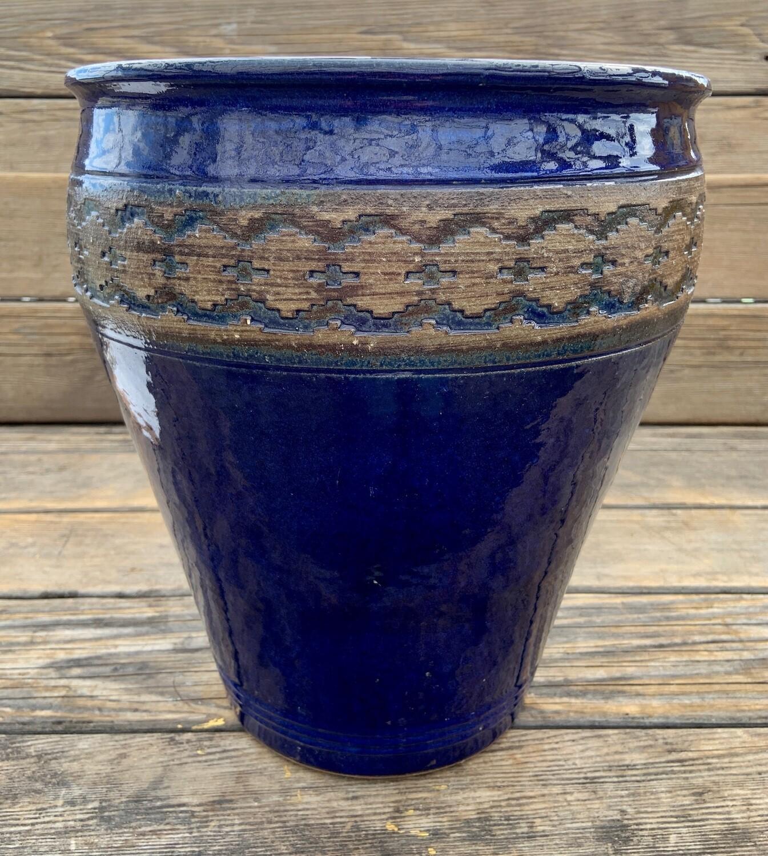 Greenhouse Pot | Glazed Granada Edged Urn, Imperial Blue | 14