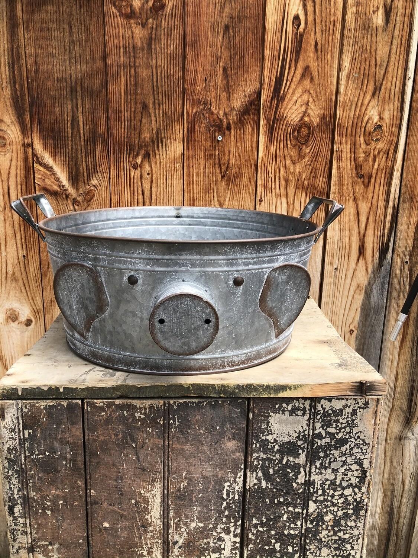 Garden Decor   Large Galvanized Pig Planter/Bucket