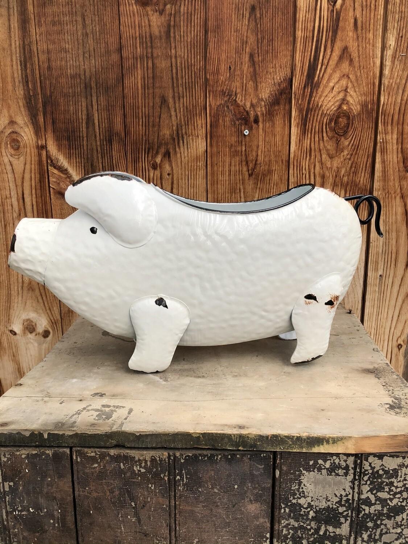 Garden Decor | White Enamel Pig Planter