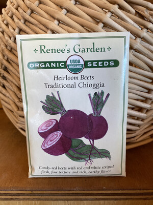 Heirloom Beets Traditional Chioggia   Renee's Garden Seed Pack   Past Year's Seeds   Reduced Price