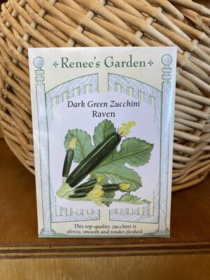Dark Green Zucchini Raven  Renee's Garden Seed Pack   Past Year's Seeds   Reduced Price