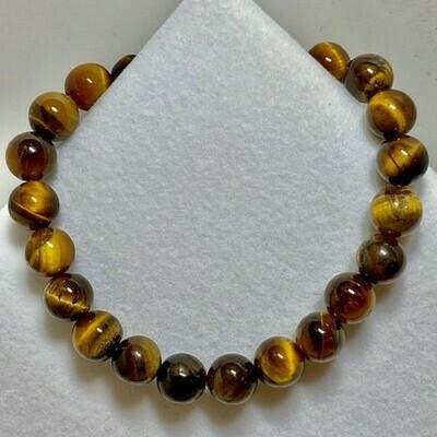 Tiger Eye Bead Bracelet 8mm