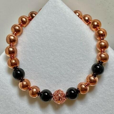 Copper & Black Tourmaline Beaded Bracelet  8mm