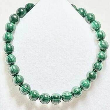 Malachite Gemstone Bead Bracelet 7mm