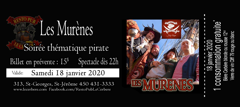 Prévente Les Murènes - Soirée Pirate - 18 janvier 2020