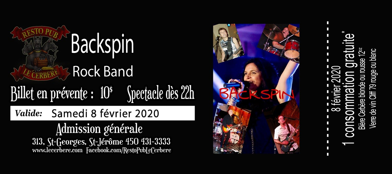 Prévente Backspin - Rock Band - 8 février 2020
