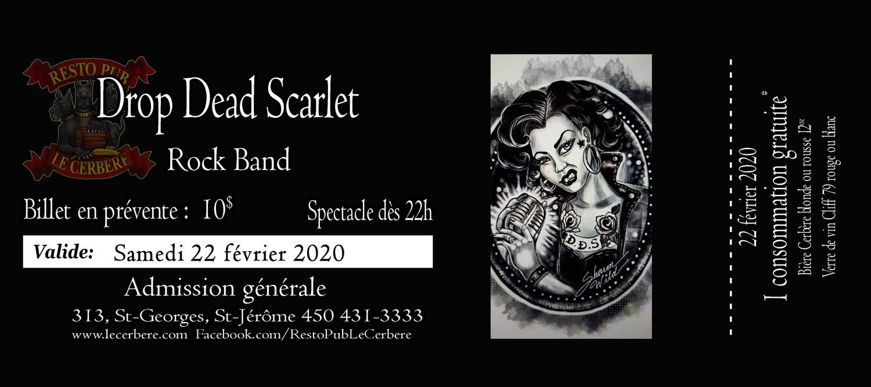 Prévente Drop Dead Scarlet - Rock band - 22 février 2020