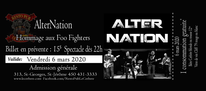 Prévente Hommage aux Foo Fighters et rock alternatif 90 - AlterNation - 6 mars 2020