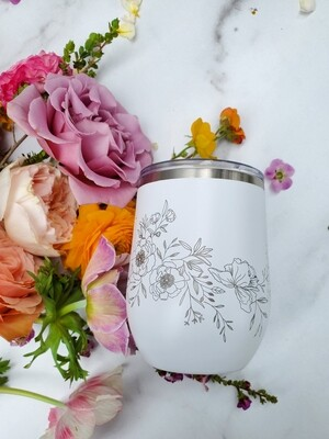 Floral Wine Tumbler (Pomp and Revel)