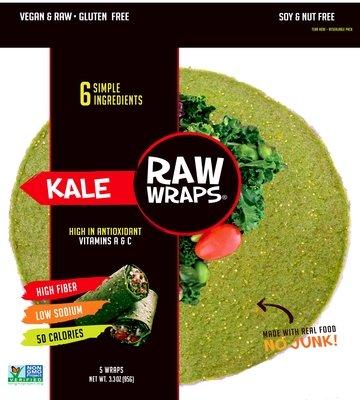 Raw Wraps Kale 5 wraps per pack