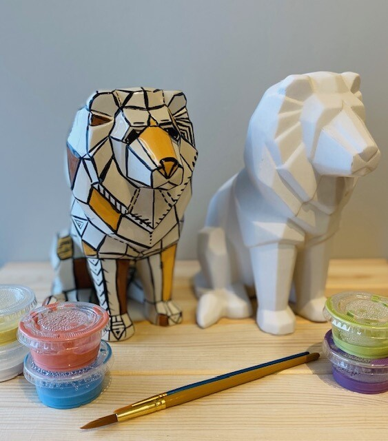 Take Home Faceted Lion with Glazes - Pick up at Pet Depot