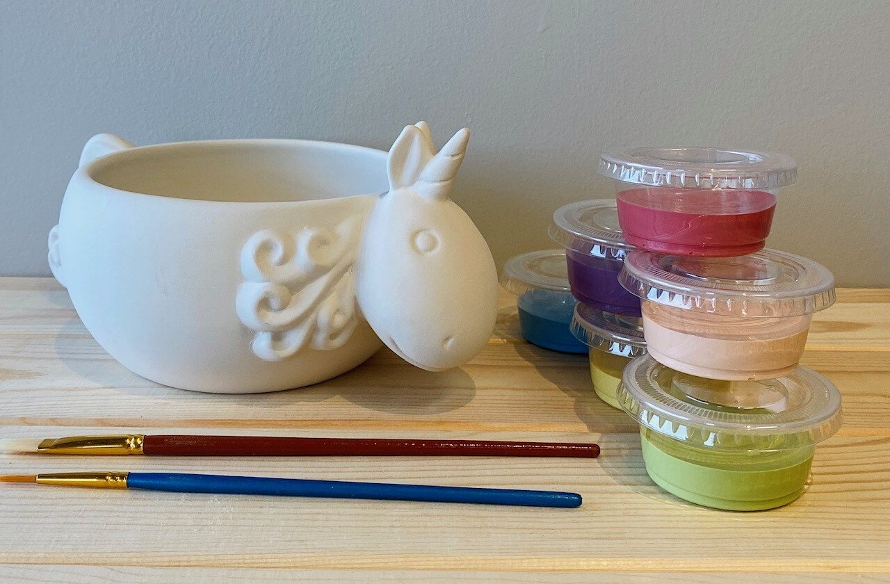 Take Home Unicorn Bowl with Glazes - Pick up at Pet Depot