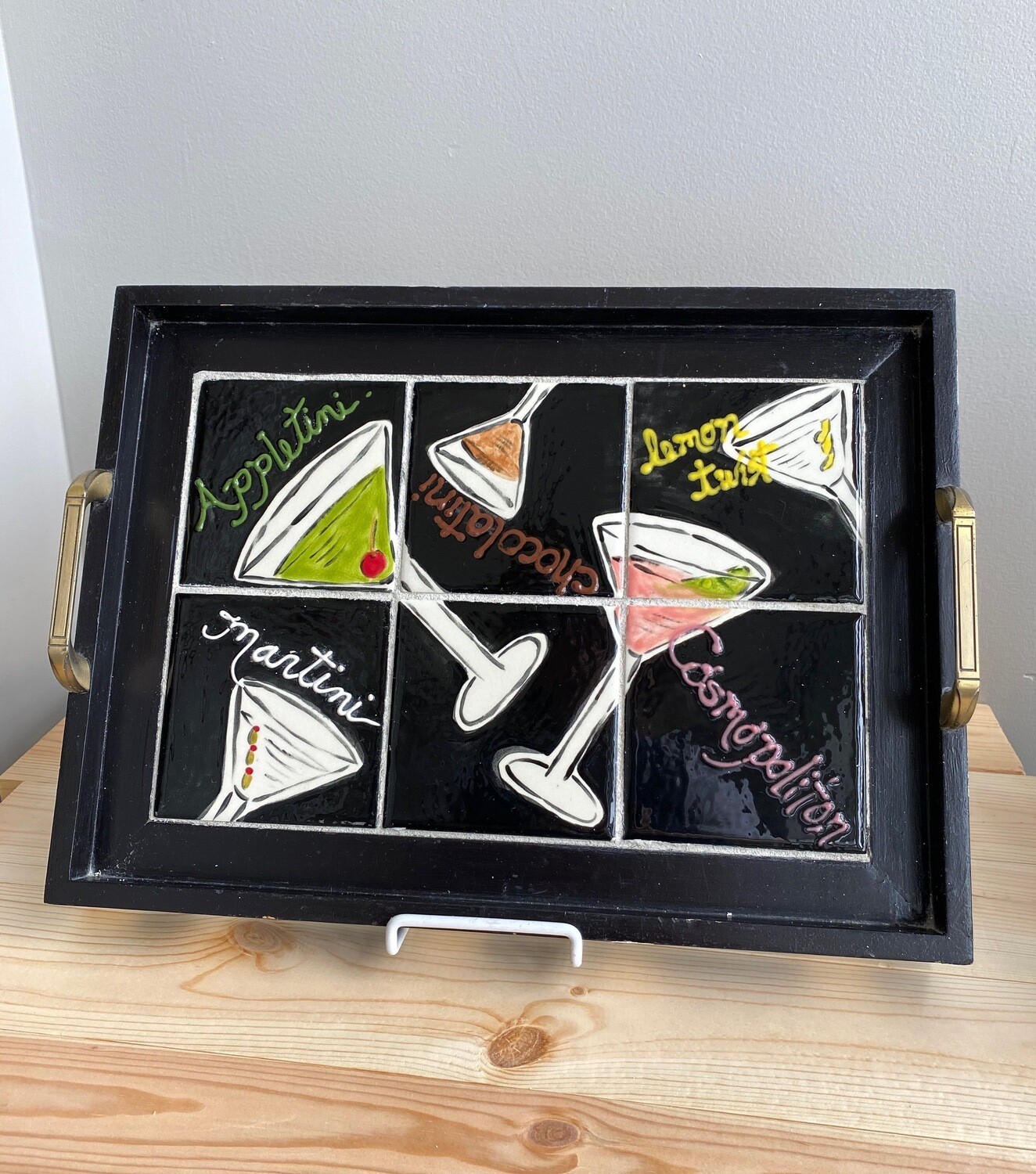 Cocktail Tiles Wooden Tray with Handles - Sample Sale