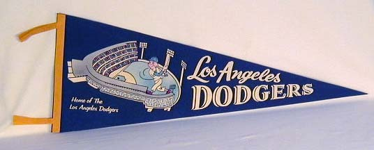 1960's Los Angeles Dodgers Baseball Felt Pennant