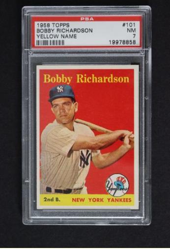1958 Topps Bobby Richardson Yellow Name Baseball Card #101 PSA 7