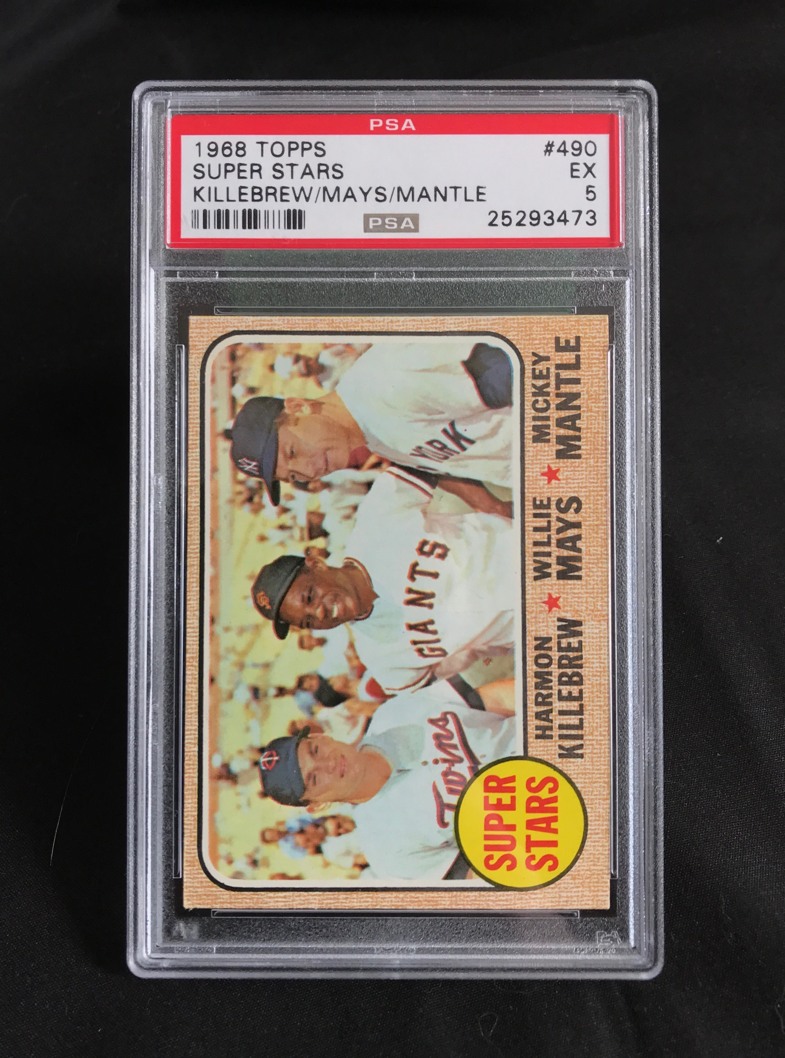 1968 Topps Super Stars Killebrew, Mays, Mantle Baseball Card PSA 5