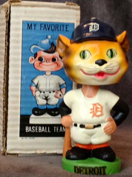 Early 1960's Detroit Tigers Green Base Bobble Head Doll