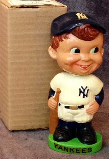 Early 1960's New York Yankees Green Base Bobble Head Doll