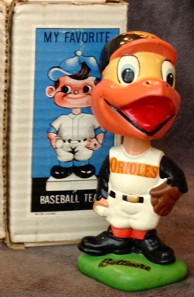 1962 Baltimore Orioles Green Base Baseball Bobble Head Doll