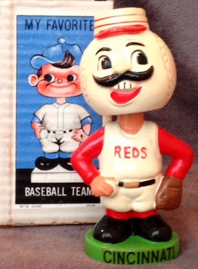 1960's Cincinnati Reds Green Base Bobble Head Doll
