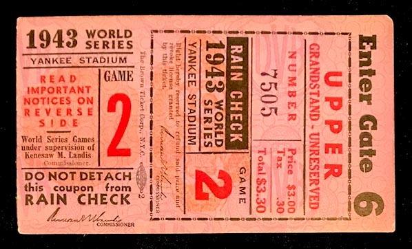1943 World Series Ticket - Game 2