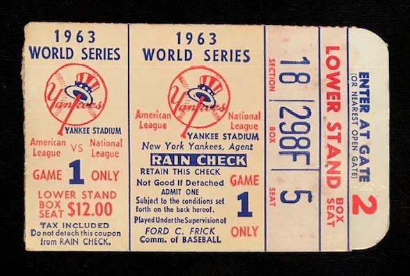 1963 World Series Ticket Game 2 - Koufax 15 strikeouts