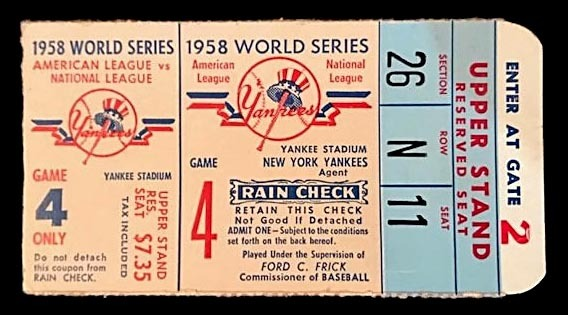 1958 World Series Ticket Stub, Game 4 at Yankee Stadium