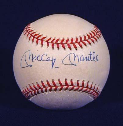 Mickey Mantle Single Signed Baseball