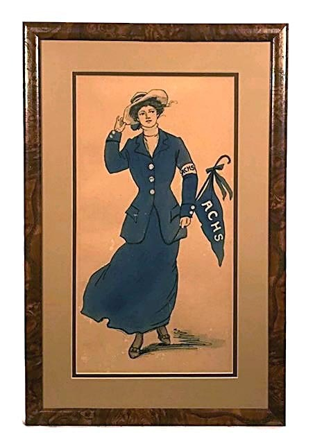 1900-10's Hand Painted Football Related Water Colors