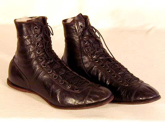 Vintage 1910's Black Leather Basketball Shoes